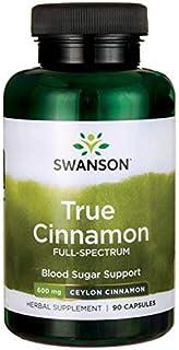 Swanson Ceylon Cinnamon Cardiovascular Health Blood Sugar and Metabolic Support Cinnamomum verum Herbal Supplement 600 mg 90 Capsules