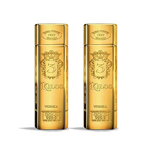 Vodka 3 Kilos Gold 999.9 Ultra Premium de 100 cl - Elaborado en Holanda - Qantima Group (Pack de 2 botellas)