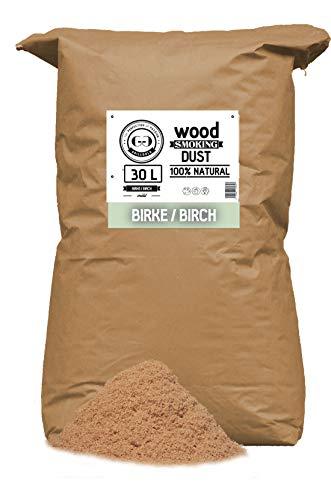 Grillgold Räuchermehl Wood Smoking Dust. Zum räuchen und kalträuchern von Fisch, Fleisch und Gemüse auch für BBQ und Grill geeignet. In Papier-Sack befüllt mit 30 Liter Birke