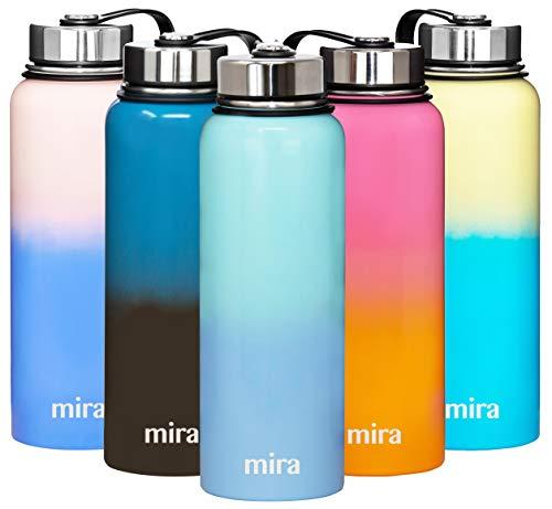 MIRA Botella de agua de metal aislada – Termo térmico de boca ancha de acero inoxidable – mantiene el agua fría durante 24 horas, caliente durante 12 horas – tapa sin BPA – salero – 40 oz