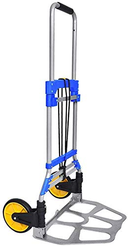 FULLWATT 264 Lb Capacity Folding Hand Truck and Dolly Aluminum Portable Folding Hand Cart with Telescoping Handle and Rubber Wheels (Blue)