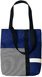TOOGOO Fashion Stitching Stripes Canvas Bag Women Shoulder Bag Zipper Crossbody Bag Durable Tote Handbags Navy Blue