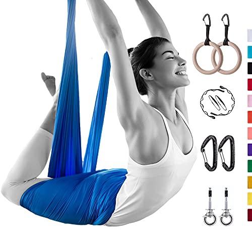 AerialX Aerial Yogatuch - Yoga Basis Set Lavendel   GS geprüfte Yoga Hängematte für Yoga, Pilates und Gymnastik   Vertikaltuch Made in Germany