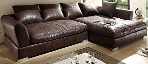 Reboz Big Sofa Ecksofa Vintage Braun Schwarz Ausrichtungen (Vintage Dunkelbraun, rechts)