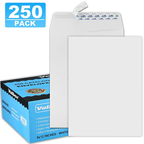 ValBox 9x12 Self Seal Catalog Envelopes 250 Packs White Envelopes with Peel and Seal Flap for Mailing, Organizing and Storage (Techno Tear Catalog Envelope)