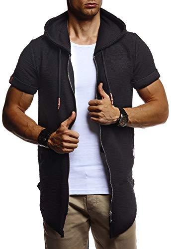 Leif Nelson Herren Sommer Jacke mit Kapuze Sweatjacke T-Shirt Slim Fit Basic Baumwolle-Anteil Basic Männer Kapuzenjacke Kapuzenshirt Hoodie-Sweater Kurzarm lang LN8301 Schwarz X-Large