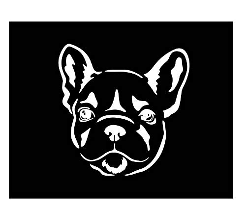 French Bulldog Face Vinyl Decal | White | Made in USA by Foxtail Decals | for Car Windows, Tablets, Laptops, Water Bottles, etc. | 4.5 x 4.5 inch