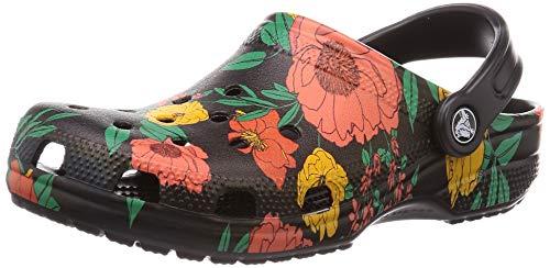 crocs Zueco clásico estampado floral unisex, color, talla 37-38 EU
