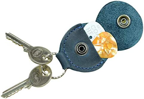Rustic Guitar Pick Holder Leather Key Chain Handmade by Hide Drink Slate Blue product image