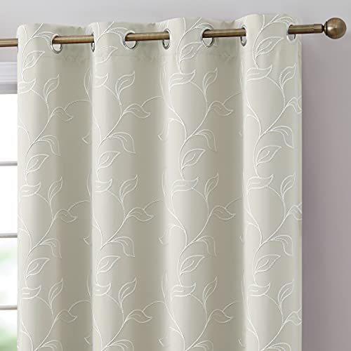 HLC.ME Carol Floral Decorative Embroidered Pattern Thermal Insulated Blackout Room Darkening Energy Savings Soundproof Window Curtain Grommet Panels Bedroom, Set of 2 (52 W x 84 L Long, Ivory)