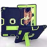 HNKHKJ para iPad 2 3 4 FundaKids Safe Heavy Duty Silicone Hard Cover para Apple iPad 234 9 7 Pulgadas Tablet Case + Film + Pen-NO
