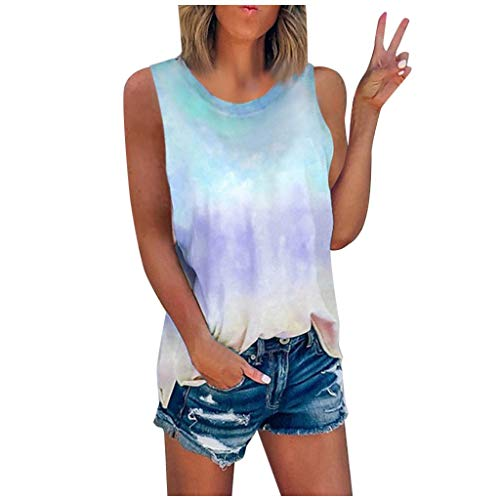Eaktool Women's Summer Tie-Dye Sleeveless Crew-Neck T-Shirt Casual Tee Tops(S-5XL) Sky Blue
