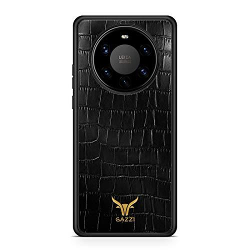 GAZZI Lederhülle für Huawei Mate 40 PRO Hülle Hülle Schale Backcover Handyhülle Schutzhülle Echt Leder, R&umschutz, Flexible Schale (Kroko Schwarz Gold)