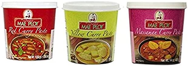 Mae Ploy Red Curry Paste, Massaman Curry Paste and Yellow Curry Paste Set.(14 oz Variety Pack of 3)