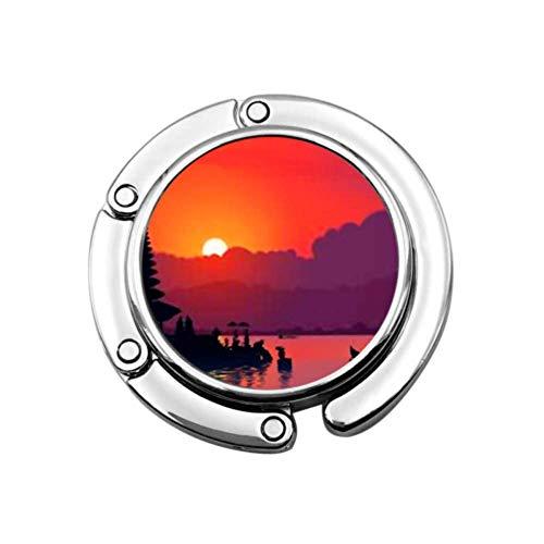 Red Sunset Silhouette Famoso balinés Ulun Plegable Bolso Gancho Monedero Gancho Soporte de suspensión para Mesa de Coche