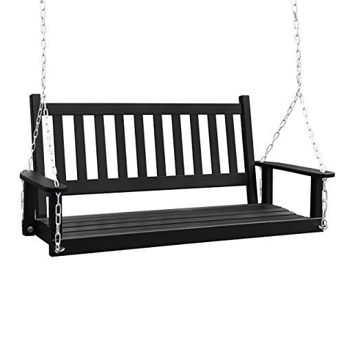 MUPATER Outdoor Patio Hanging Wooden Porch Swing with Chains, 2-Person Heavy Duty Swing Bench for Garden and Backyard, Black, 52''W x 23.6''D