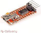 AZDelivery FTDI Adaptateur convertisseur FT232RL USB vers TTL 3.3V 5.5V y compris un eBook