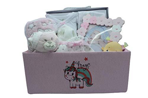 Cesta bebé recién nacido - canastilla bebe para regalo con portafotos, mantita con muñeco, muselinas y set recién nacido de algodón.