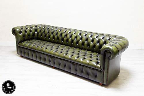 Classic Interior Chesterfield Sofa XXL 5er Grün Englisch Chippendale Antik Leder