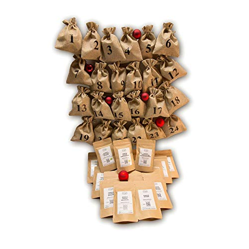 Espresso Adventskalender - Komplett-Set - Jutesäcke und Kaffee zum Selbstbefüllen - ganze Bohnen - Säcke sind wiederverwendbar