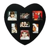 living-by-design Fotogalerie 30x30cm Fotorahmen Herz aus Holz für 7 Fotos - In schwarz lackiert - Bilderrahmen Bildergalerie Fotocollage Herzform