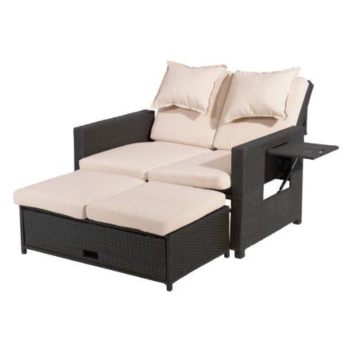 greemotion Rattan-Lounge Bahia, Sofa & Bett aus Polyrattan, indoor & outdoor, 2er Garten-Sofa mit Stahl-Gestell, Daybed inkl. Kissen, braun-beige