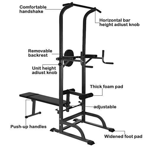 KINGC Heavy Multi-Functional Fitness Rack Adjustable Power Tower Push Up/Pull Up/Chin Up Bar Sit Up Bench Dip Stands Home Gym Full Body Exercise Fitness Equipment Workout Machine 330 Lbs Black