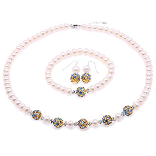"""JYX Perlenkette Weiß Set Damen Schmuck 7-8,5mm Süßwasser Zuchtperlen Kette Armband & Ohrringe mit Cloisonné - Modeschmuck Set für Frauen (17,5""""Halskette)"""