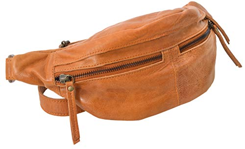 Gusti Bauchtasche Damen Leder - Acton Gürteltasche Brustbeutel Hüfttasche Cross Body Bag Reißverschluss Damen Herren Braun
