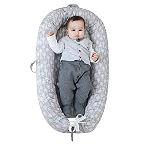 Portable Baby Nest Lounger Baby Bedside co Sleeper Bed Bassinet Mattress, Super Soft Cotton,Newborn Shower Gift Essentials (Grey Arrows)