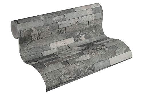 A.S. Création Vliestapete Best of Wood`n Stone 2nd Edition Tapete in Stein Optik fotorealistische Steintapete Naturstein 10,05 m x 0,53 m beige grau schwarz Made in Germany 355824 35582-4