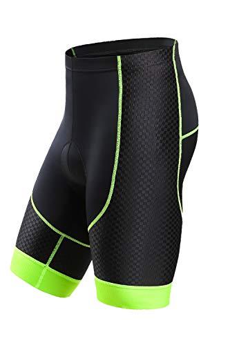 Letook Pantalones Cortos Ciclismo para Hombres Bicicleta Traspirable con Gel Acolchado Anti-UV y Cómodo(Negro&Verde, M)