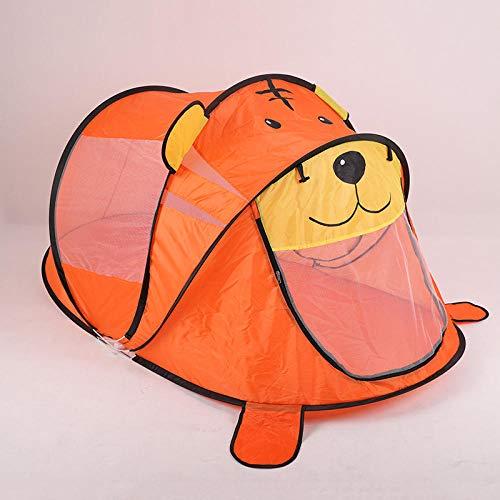 LIKEJJ - Tente de plage pour enfants - Dessin animé - Auvent complet - Ouverture automatique de la vitesse - Intérieur et camping - Protection pliable - Portable Tigre jaune.