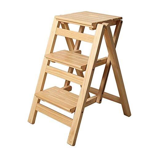 HUYP Escalera Plegable heces Cocina 3 Nivel multifunción Paso Silla de heces Flor Banco Zapatero Estante de Almacenamiento (Color : Wood Color)