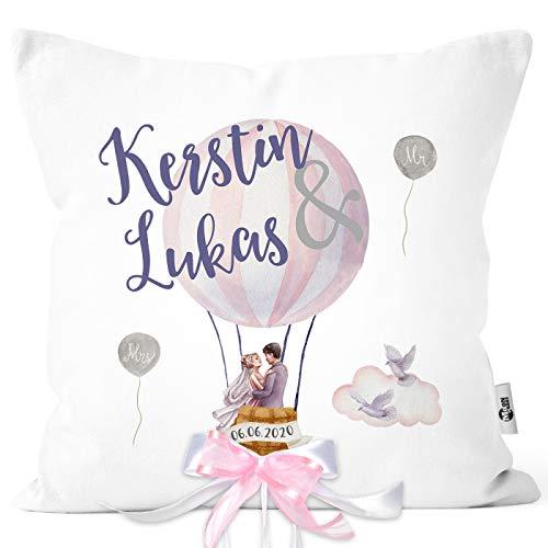 MoonWorks® personalisierbare Kissen-Hülle zur Hochzeit, Hochzeitskissen Heißluftballon, Hochzeitsgeschenk Geldgeschenk Kissenhülle mit Schleife mit Schleife 40cm x 40cm