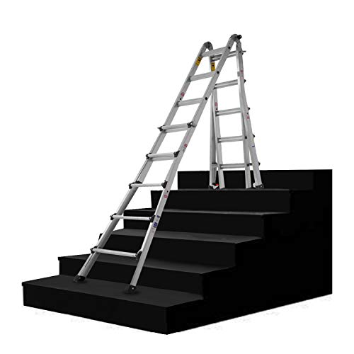 ORIENTOOLS Aluminum Extension Ladder, 300 lb Duty Rating (Load Capacity Type IA) Model 22-Foot Durable and Multi-Purpose Ladder with Two Wheels