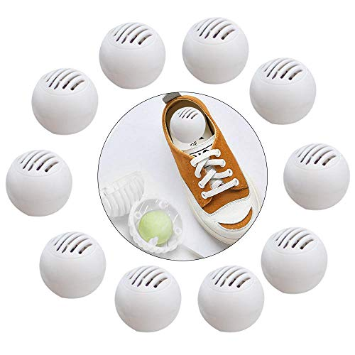 Peedeu Desodorante para zapatos (contiene 10 bolas), desodorante para zapatos para zapatillas, taquillas, bolsas de gimnasio, hogares, oficinas y coches, aire fresco, aroma afrutado natural