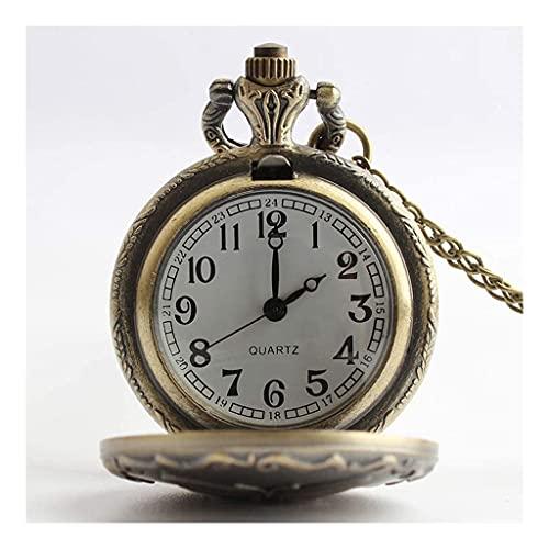 Klassische stilvolle Taschenuhr.Taschenuhr und Kette für Herren,Vintage Bronze Butterfly Pattern Flip Watch,Als älteres Geschenk Jubiläum Vatertag Peaky Blinders Kostüm (Color : A) präzise