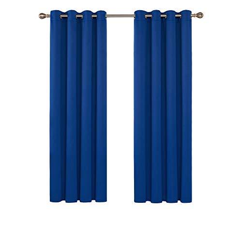 Deconovo Vorhang Verdunkelungsvorhang Ösen Gardinen Wohnzimmer Vorhang Blickdicht 175x140 cm Königsblau 2er Set