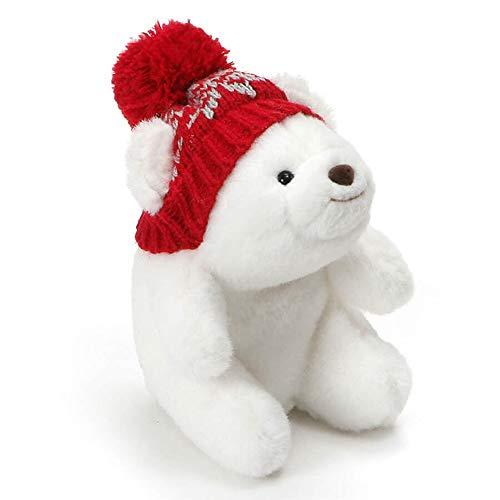 GUND Mini Snuffles with Knit Hat Teddy Bear Christmas Stuffed Plush Holiday Bear, White, 5'