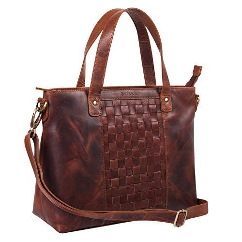 STILORD 'Mara' Elegante Handtasche geflochtenes Leder mit abnehmbaren Schulterriemen Abendtasche Ausgehtasche Echtleder, Farbe:Siena - braun