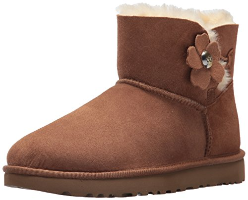 UGG Mini Bailey Button Poppy Stivali da Neve Donna, Marrone (Chestnut) 39 EU