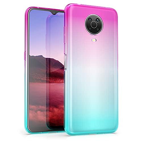 kwmobile Hülle kompatibel mit Nokia G20 / G10 - Hülle Handy - Handyhülle Zwei Farben Pink Blau Transparent