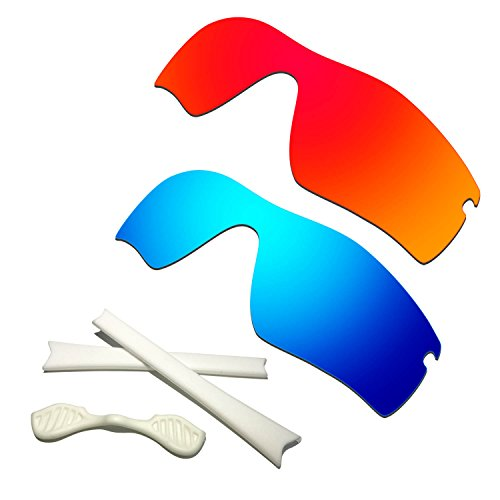HKUCO Red/Blue Polarized Replacement Lenses plus White Earsocks Rubber Kit For Oakley Radar Path