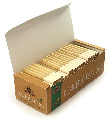 Cartel Bio - Tubos de cigarrillos sin blanquear, 1 caja con 200 tubos