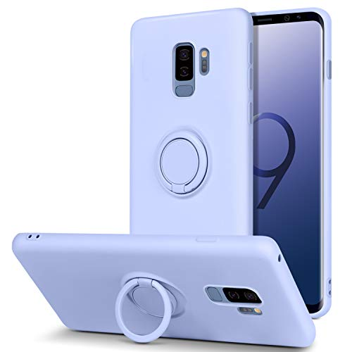BENTOBEN Samsung Galaxy S9 Plus Case, Slim Silicone Soft Rubber with 360° Ring Holder Kickstand Car Mount Supported Shockproof Bumper Protective Cases for Samsung Galaxy S9+ Plus 6.2' (2018), Purple