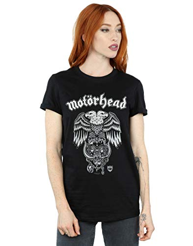 Motorhead Mujer Hiro Double Eagle Camiseta del Novio Fit Negro Medium