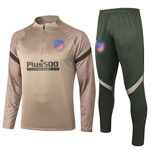 Atlética - Màdrid - Traje de entrenamiento de camiseta de fútbol, 2021 New Season Retro - Camiseta de fútbol para niño, transpirable y cómoda (S-XXL), color caqui