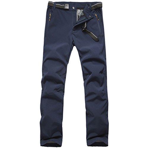 emansmoer Homme Outdoor Softshell Doublé Polaire Élastique Pantalon Imperméable Sport Pantalons de randonnée Camping (X-Large, Bleu foncé)