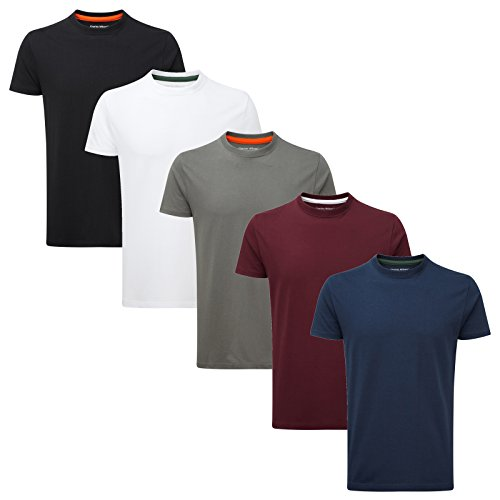 Charles Wilson 5er Packung Einfarbige T-Shirts mit Rundhalsausschnitt (X-Large, Essentials Type 22)